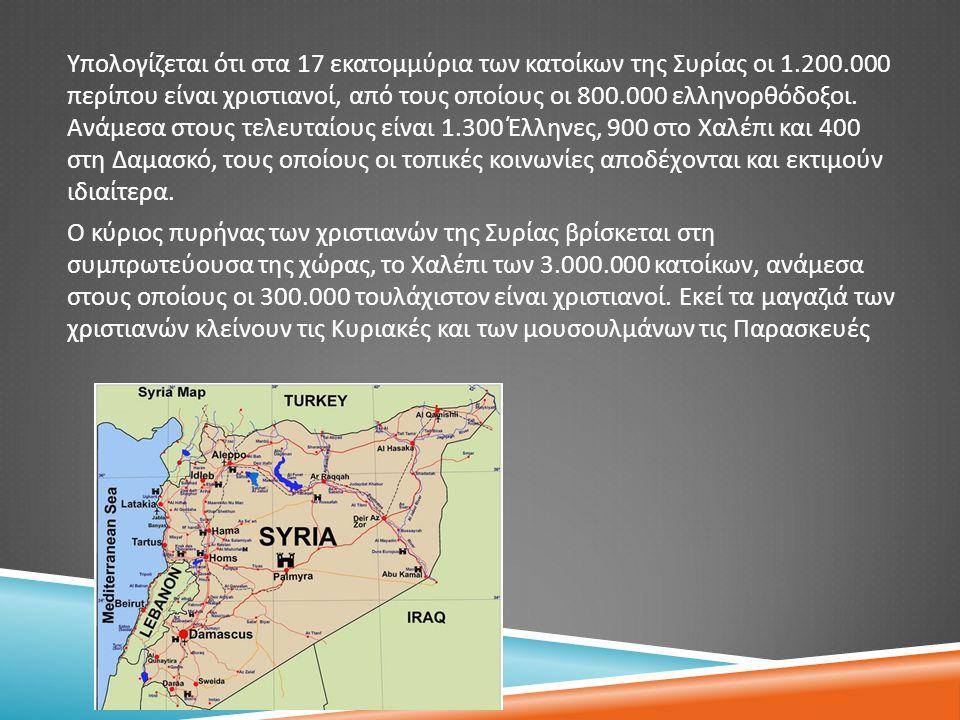 Υπολογίζεται ότι στα 17 εκατομμύρια των κατοίκων της Συρίας οι 1.200.000 περίπου είναι χριστιανοί, από τους οποίους οι 800.000 ελληνορθόδοξοι. Ανάμεσα
