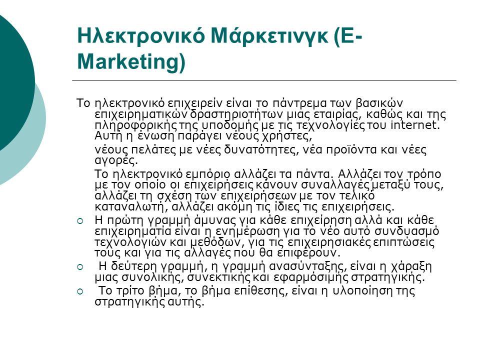 Ηλεκτρονικό Μάρκετινγκ (E- Marketing) Το ηλεκτρονικό επιχειρείν είναι το πάντρεμα των βασικών επιχειρηματικών δραστηριοτήτων μιας εταιρίας, καθώς και της πληροφορικής της υποδομής με τις τεχνολογίες του internet.