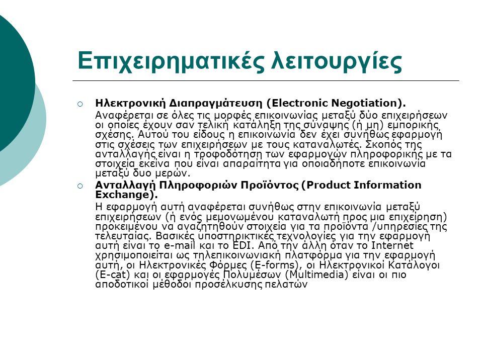 Επιχειρηματικές λειτουργίες  Ηλεκτρονική Διαπραγμάτευση (Electronic Negotiation). Αναφέρεται σε όλες τις μορφές επικοινωνίας μεταξύ δύο επιχειρήσεων