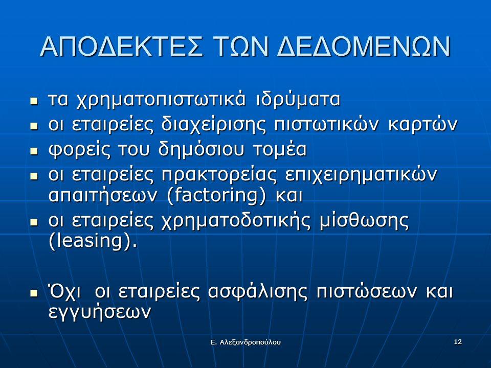 Ε. Αλεξανδροπούλου 12 ΑΠΟΔΕΚΤΕΣ ΤΩΝ ΔΕΔΟΜΕΝΩΝ τα χρηματοπιστωτικά ιδρύματα τα χρηματοπιστωτικά ιδρύματα οι εταιρείες διαχείρισης πιστωτικών καρτών οι