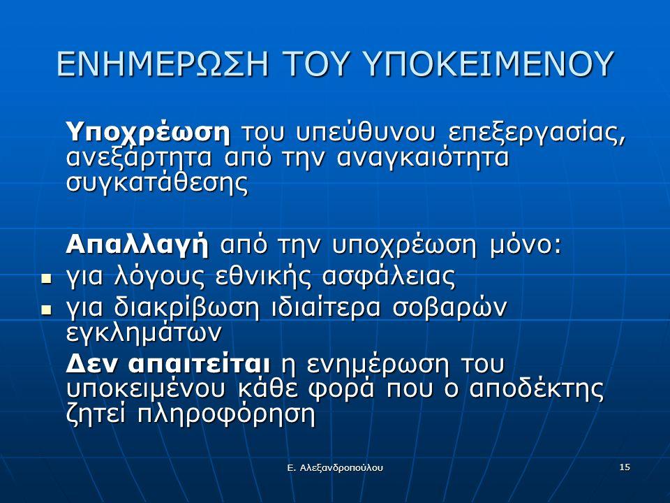 Ε. Αλεξανδροπούλου 15 ΕΝΗΜΕΡΩΣΗ ΤΟΥ ΥΠΟΚΕΙΜΕΝΟΥ Υποχρέωση του υπεύθυνου επεξεργασίας, ανεξάρτητα από την αναγκαιότητα συγκατάθεσης Απαλλαγή από την υπ