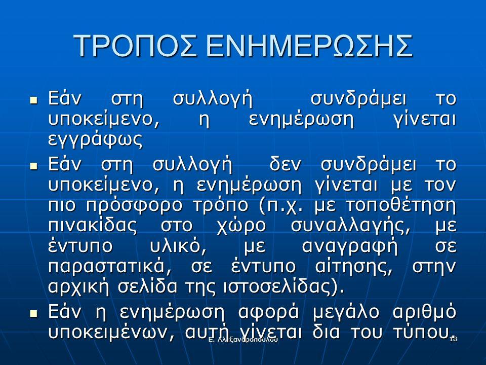 Ε. Αλεξανδροπούλου 18 ΤΡΟΠΟΣ ΕΝΗΜΕΡΩΣΗΣ Εάν στη συλλογή συνδράμει το υποκείμενο, η ενημέρωση γίνεται εγγράφως Εάν στη συλλογή συνδράμει το υποκείμενο,