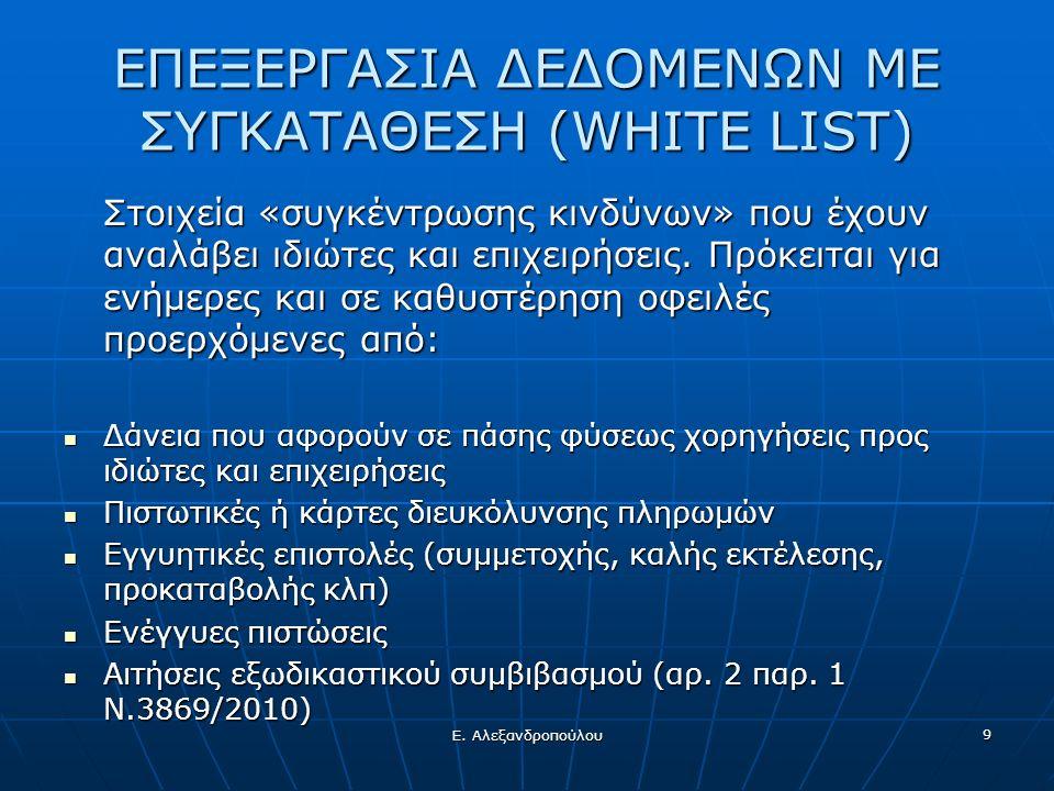 Ε. Αλεξανδροπούλου 9 ΕΠΕΞΕΡΓΑΣΙΑ ΔΕΔΟΜΕΝΩΝ ΜΕ ΣΥΓΚΑΤΑΘΕΣΗ (WHITE LIST) Στοιχεία «συγκέντρωσης κινδύνων» που έχουν αναλάβει ιδιώτες και επιχειρήσεις. Π