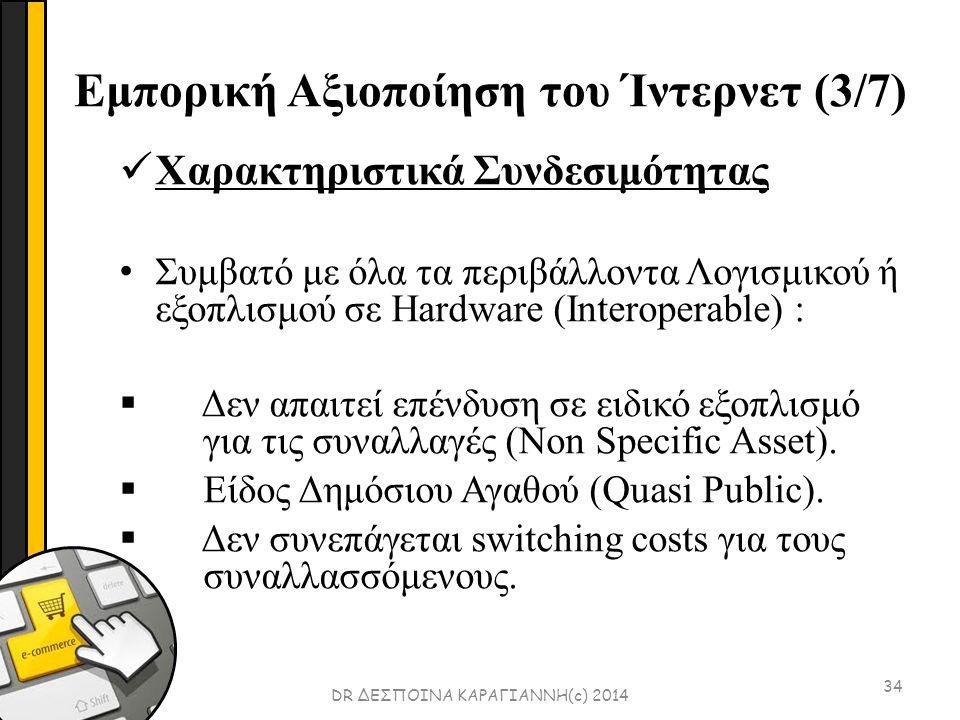 Εμπορική Αξιοποίηση του Ίντερνετ (3/7) 34 Χαρακτηριστικά Συνδεσιμότητας Συμβατό με όλα τα περιβάλλοντα Λογισμικού ή εξοπλισμού σε Hardware (Interoperable) :  Δεν απαιτεί επένδυση σε ειδικό εξοπλισμό για τις συναλλαγές (Νοn Specific Asset).