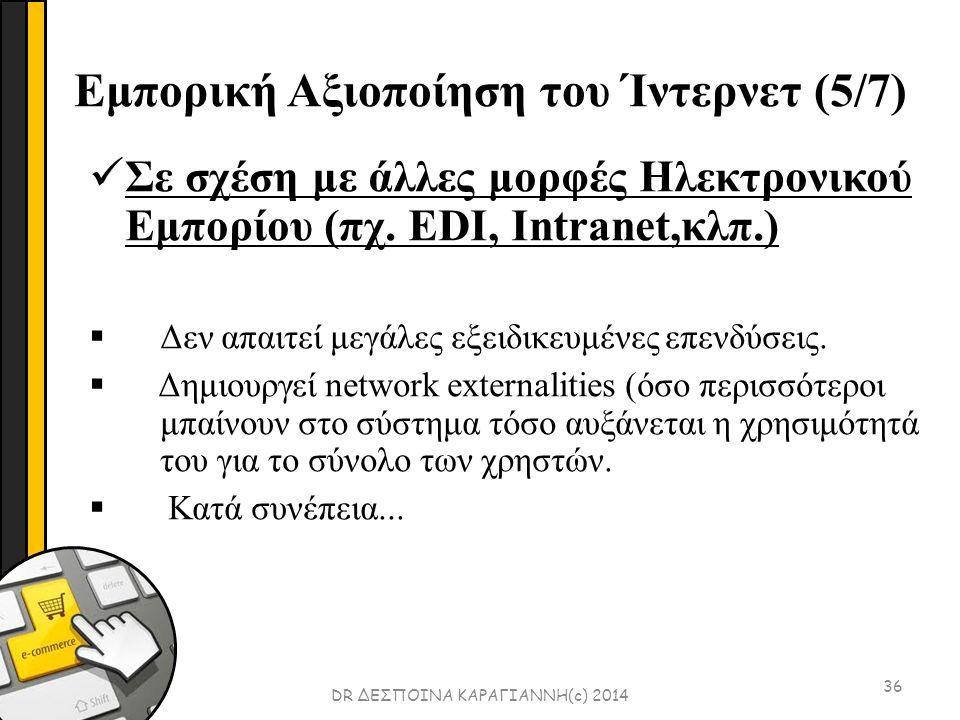 Εμπορική Αξιοποίηση του Ίντερνετ (5/7) 36 Σε σχέση με άλλες μορφές Ηλεκτρονικού Εμπορίου (πχ.