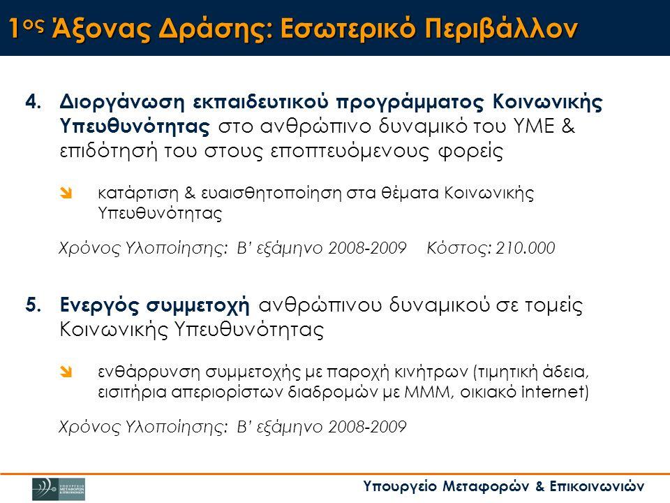 Υπουργείο Μεταφορών & Επικοινωνιών 1 ος Άξονας Δράσης: Εσωτερικό Περιβάλλον 4.Διοργάνωση εκπαιδευτικού προγράμματος Κοινωνικής Υπευθυνότητας στο ανθρώπινο δυναμικό του ΥΜΕ & επιδότησή του στους εποπτευόμενους φορείς  κατάρτιση & ευαισθητοποίηση στα θέματα Κοινωνικής Υπευθυνότητας Χρόνος Υλοποίησης: Β' εξάμηνο 2008-2009 Κόστος: 210.000 5.Ενεργός συμμετοχή ανθρώπινου δυναμικού σε τομείς Κοινωνικής Υπευθυνότητας  ενθάρρυνση συμμετοχής με παροχή κινήτρων (τιμητική άδεια, εισιτήρια απεριορίστων διαδρομών με ΜΜΜ, οικιακό internet) Χρόνος Υλοποίησης: Β' εξάμηνο 2008-2009