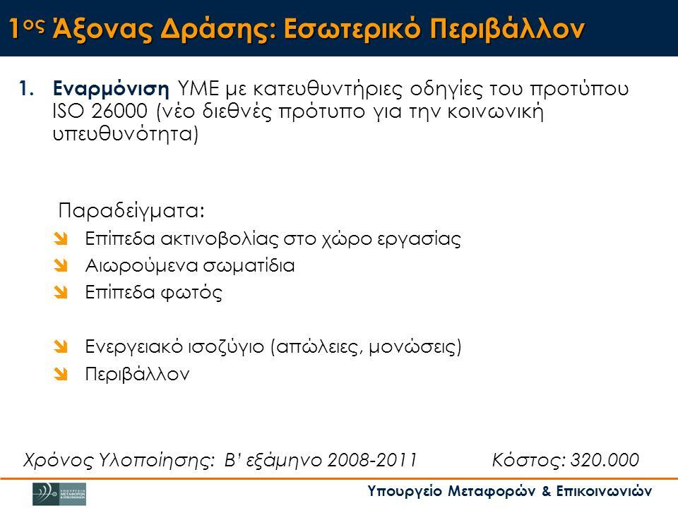 Υπουργείο Μεταφορών & Επικοινωνιών 1 ος Άξονας Δράσης: Εσωτερικό Περιβάλλον 1.