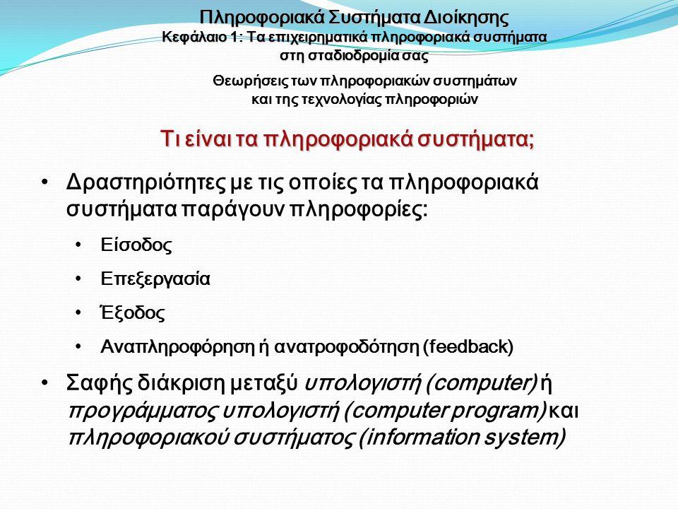 Θεωρήσεις των πληροφοριακών συστημάτων και της τεχνολογίας πληροφοριών Δραστηριότητες με τις οποίες τα πληροφοριακά συστήματα παράγουν πληροφορίες: Εί