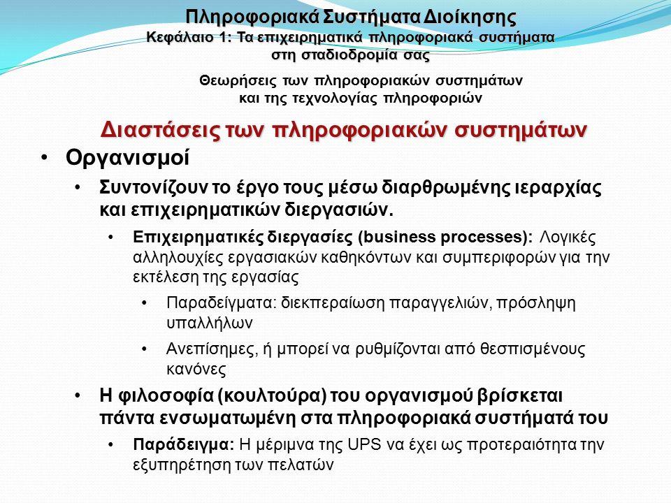 Θεωρήσεις των πληροφοριακών συστημάτων και της τεχνολογίας πληροφοριών Οργανισμοί Συντονίζουν το έργο τους μέσω διαρθρωμένης ιεραρχίας και επιχειρηματ