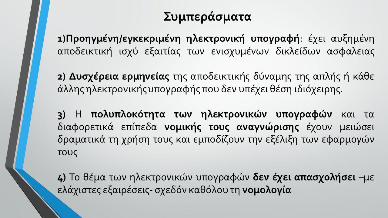 Συμπεράσματα 1)Προηγμένη/εγκεκριμένη ηλεκτρονική υπογραφή: έχει αυξημένη αποδεικτική ισχύ εξαιτίας των ενισχυμένων δικλείδων ασφαλειας 2) Δυσχέρεια ερμηνείας της αποδεικτικής δύναμης της απλής ή κάθε άλλης ηλεκτρονικής υπογραφής που δεν υπέχει θέση ιδιόχειρης.