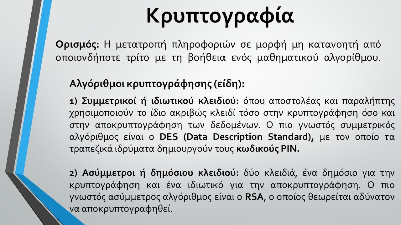 Κρυπτογραφία Ορισμός: Η μετατροπή πληροφοριών σε μορφή μη κατανοητή από οποιονδήποτε τρίτο με τη βοήθεια ενός μαθηματικού αλγορίθμου. Αλγόριθμοι κρυπτ