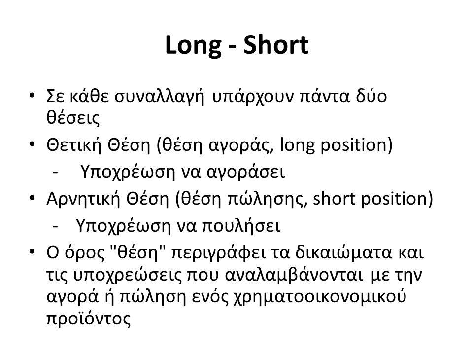 Long - Short Σε κάθε συναλλαγή υπάρχουν πάντα δύο θέσεις Θετική Θέση (θέση αγοράς, long position) - Υποχρέωση να αγοράσει Αρνητική Θέση (θέση πώλησης, short position) -Υποχρέωση να πουλήσει Ο όρος θέση περιγράφει τα δικαιώματα και τις υποχρεώσεις που αναλαμβάνονται με την αγορά ή πώληση ενός χρηματοοικονομικού προϊόντος