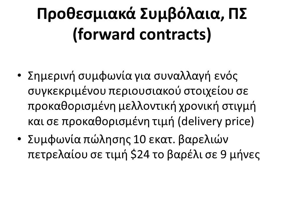 Προθεσμιακά Συμβόλαια, ΠΣ (forward contracts) Σημερινή συμφωνία για συναλλαγή ενός συγκεκριμένου περιουσιακού στοιχείου σε προκαθορισμένη μελλοντική χρονική στιγμή και σε προκαθορισμένη τιμή (delivery price) Συμφωνία πώλησης 10 εκατ.
