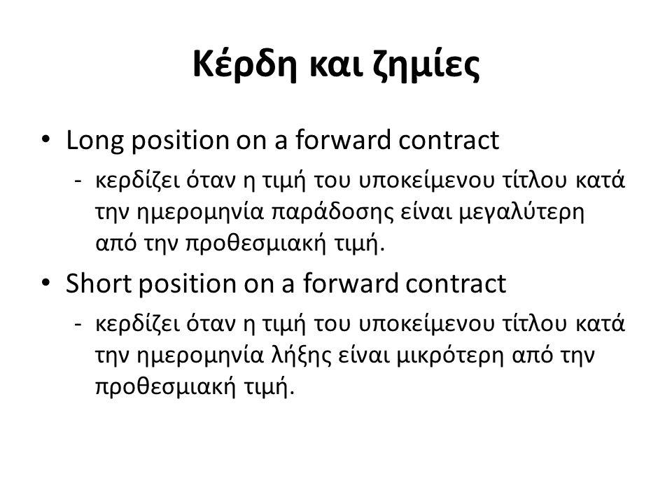 Κέρδη και ζημίες Long position on a forward contract -κερδίζει όταν η τιμή του υποκείμενου τίτλου κατά την ημερομηνία παράδοσης είναι μεγαλύτερη από την προθεσμιακή τιμή.