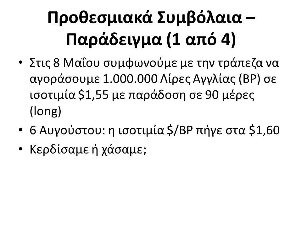 Προθεσμιακά Συμβόλαια – Παράδειγμα (1 από 4) Στις 8 Μαΐου συμφωνούμε με την τράπεζα να αγοράσουμε 1.000.000 Λίρες Αγγλίας (BP) σε ισοτιμία $1,55 με παράδοση σε 90 μέρες (long) 6 Αυγούστου: η ισοτιμία $/BP πήγε στα $1,60 Κερδίσαμε ή χάσαμε;