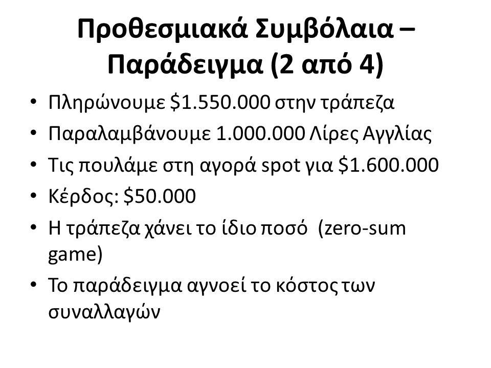Προθεσμιακά Συμβόλαια – Παράδειγμα (2 από 4) Πληρώνουμε $1.550.000 στην τράπεζα Παραλαμβάνουμε 1.000.000 Λίρες Αγγλίας Τις πουλάμε στη αγορά spot για $1.600.000 Κέρδος: $50.000 Η τράπεζα χάνει το ίδιο ποσό (zero-sum game) Το παράδειγμα αγνοεί το κόστος των συναλλαγών