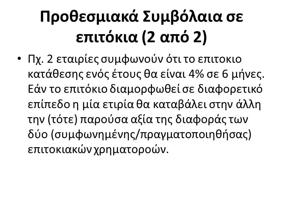 Προθεσμιακά Συμβόλαια σε επιτόκια (2 από 2) Πχ.