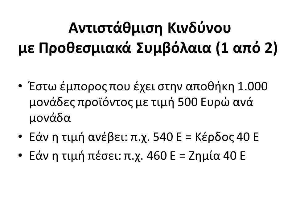 Αντιστάθμιση Κινδύνου με Προθεσμιακά Συμβόλαια (1 από 2) Έστω έμπορος που έχει στην αποθήκη 1.000 μονάδες προϊόντος με τιμή 500 Ευρώ ανά μονάδα Εάν η τιμή ανέβει: π.χ.