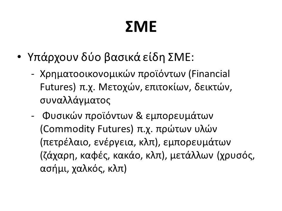 ΣΜΕ Υπάρχουν δύο βασικά είδη ΣΜΕ: -Χρηματοοικονομικών προϊόντων (Financial Futures) π.χ.