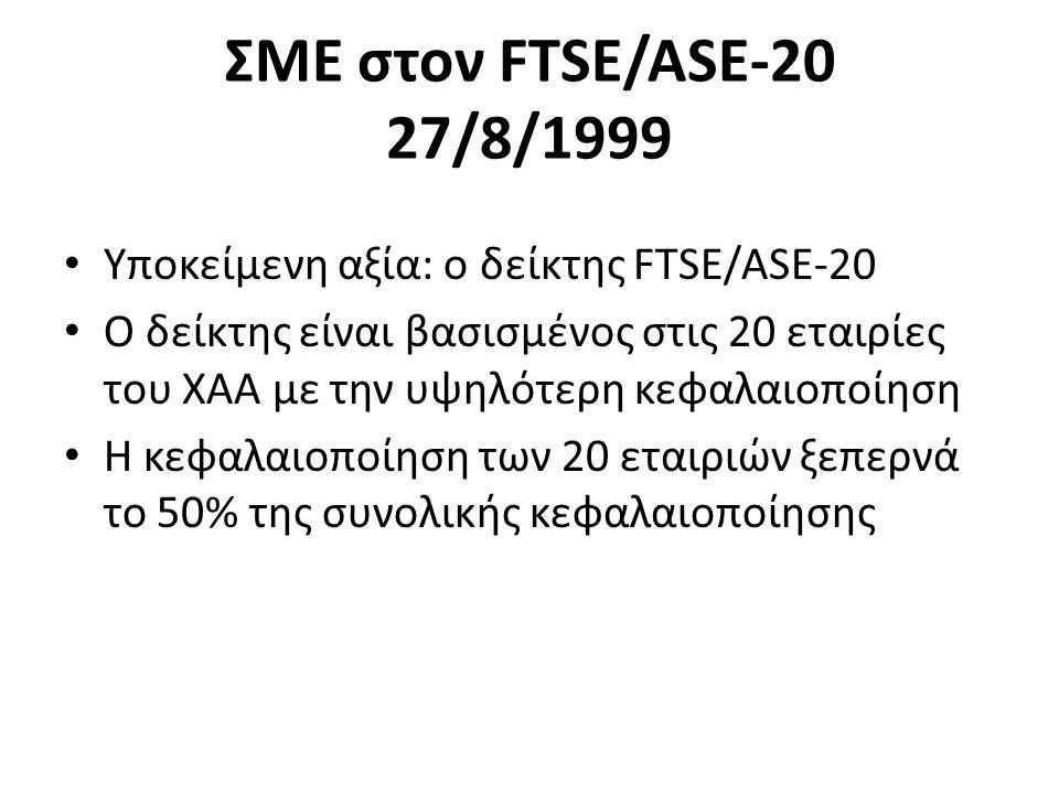 ΣΜΕ στον FTSE/ASE-20 27/8/1999 Υποκείμενη αξία: ο δείκτης FTSE/ASE-20 Ο δείκτης είναι βασισμένος στις 20 εταιρίες του ΧΑΑ με την υψηλότερη κεφαλαιοποίηση Η κεφαλαιοποίηση των 20 εταιριών ξεπερνά το 50% της συνολικής κεφαλαιοποίησης