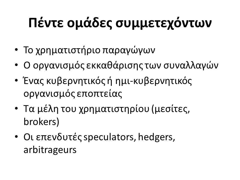 Πέντε ομάδες συμμετεχόντων Το χρηματιστήριο παραγώγων Ο οργανισμός εκκαθάρισης των συναλλαγών Ένας κυβερνητικός ή ημι-κυβερνητικός οργανισμός εποπτείας Τα μέλη του χρηματιστηρίου (μεσίτες, brokers) Οι επενδυτές speculators, hedgers, arbitrageurs
