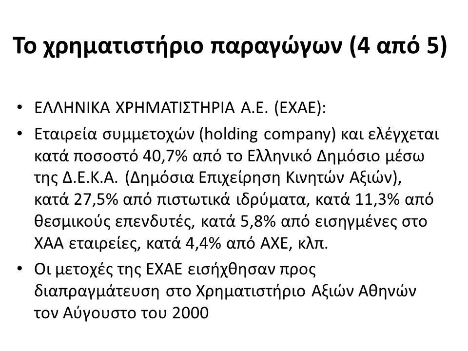 Το χρηματιστήριο παραγώγων (4 από 5) ΕΛΛΗΝΙΚΑ ΧΡΗΜΑΤΙΣΤΗΡΙΑ Α.Ε.