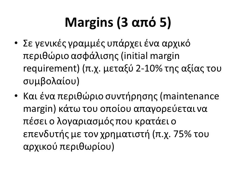 Margins (3 από 5) Σε γενικές γραμμές υπάρχει ένα αρχικό περιθώριο ασφάλισης (initial margin requirement) (π.χ.