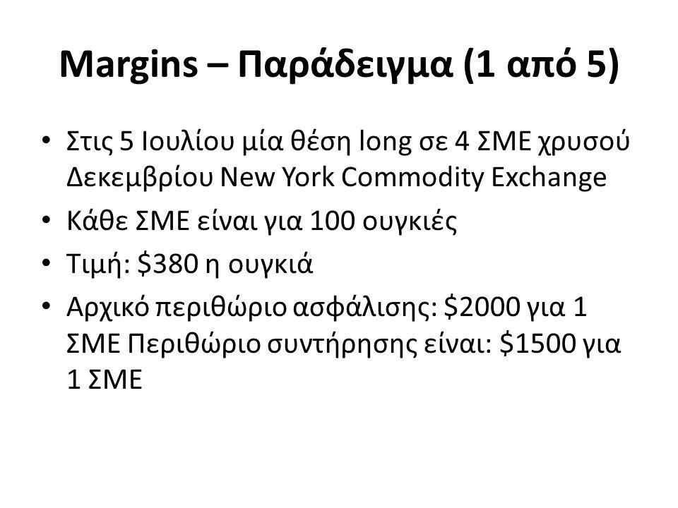Margins – Παράδειγμα (1 από 5) Στις 5 Ιουλίου μία θέση long σε 4 ΣΜΕ χρυσού Δεκεμβρίου New York Commodity Exchange Κάθε ΣΜΕ είναι για 100 ουγκιές Τιμή: $380 η ουγκιά Αρχικό περιθώριο ασφάλισης: $2000 για 1 ΣΜΕ Περιθώριο συντήρησης είναι: $1500 για 1 ΣΜΕ