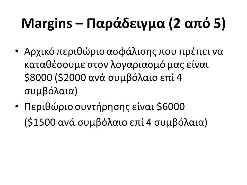 Margins – Παράδειγμα (2 από 5) Αρχικό περιθώριο ασφάλισης που πρέπει να καταθέσουμε στον λογαριασμό μας είναι $8000 ($2000 ανά συμβόλαιο επί 4 συμβόλαια) Περιθώριο συντήρησης είναι $6000 ($1500 ανά συμβόλαιο επί 4 συμβόλαια)