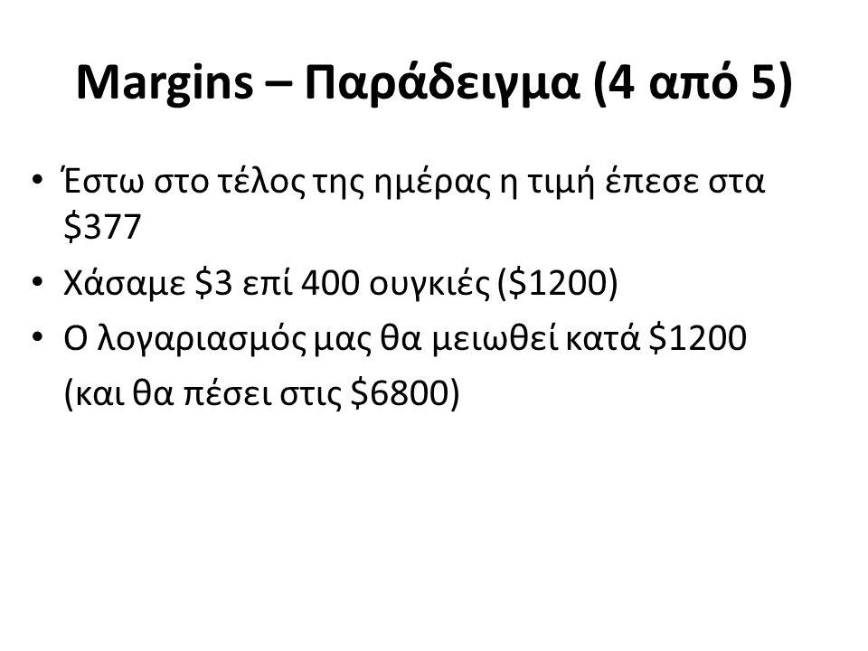 Margins – Παράδειγμα (4 από 5) Έστω στο τέλος της ημέρας η τιμή έπεσε στα $377 Χάσαμε $3 επί 400 ουγκιές ($1200) Ο λογαριασμός μας θα μειωθεί κατά $1200 (και θα πέσει στις $6800)