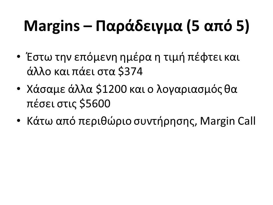 Margins – Παράδειγμα (5 από 5) Έστω την επόμενη ημέρα η τιμή πέφτει και άλλο και πάει στα $374 Χάσαμε άλλα $1200 και ο λογαριασμός θα πέσει στις $5600 Κάτω από περιθώριο συντήρησης, Margin Call