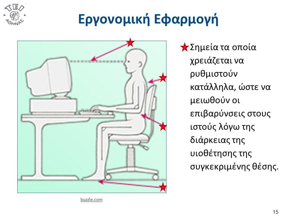 Εργονομική Εφαρμογή 15 buzzle.com Σημεία τα οποία χρειάζεται να ρυθμιστούν κατάλληλα, ώστε να μειωθούν οι επιβαρύνσεις στους ιστούς λόγω της διάρκειας της υιοθέτησης της συγκεκριμένης θέσης.