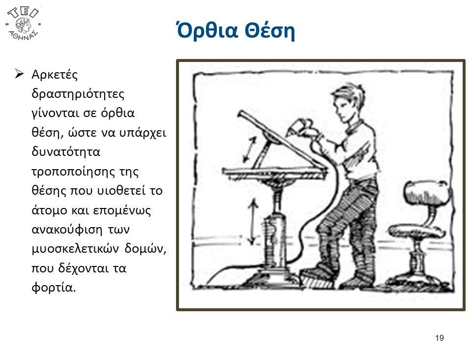 Όρθια Θέση 19  Αρκετές δραστηριότητες γίνονται σε όρθια θέση, ώστε να υπάρχει δυνατότητα τροποποίησης της θέσης που υιοθετεί το άτομο και επομένως ανακούφιση των μυοσκελετικών δομών, που δέχονται τα φορτία.