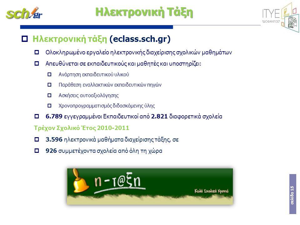 σελίδα 15  Ηλεκτρονική τάξη (eclass.sch.gr)  Ολοκληρωμένο εργαλείο ηλεκτρονικής διαχείρισης σχολικών μαθημάτων  Απευθύνεται σε εκπαιδευτικούς και μ