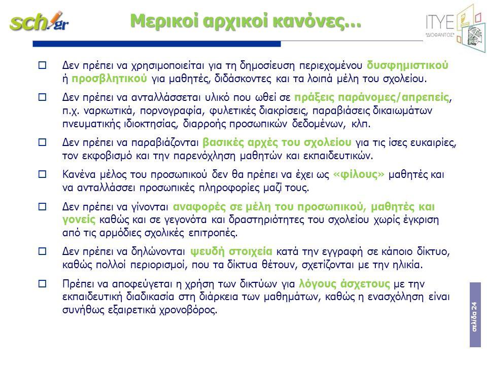 σελίδα 24 Μερικοί αρχικοί κανόνες…  Δεν πρέπει να χρησιμοποιείται για τη δημοσίευση περιεχομένου δυσφημιστικού ή προσβλητικού για μαθητές, διδάσκοντες και τα λοιπά μέλη του σχολείου.
