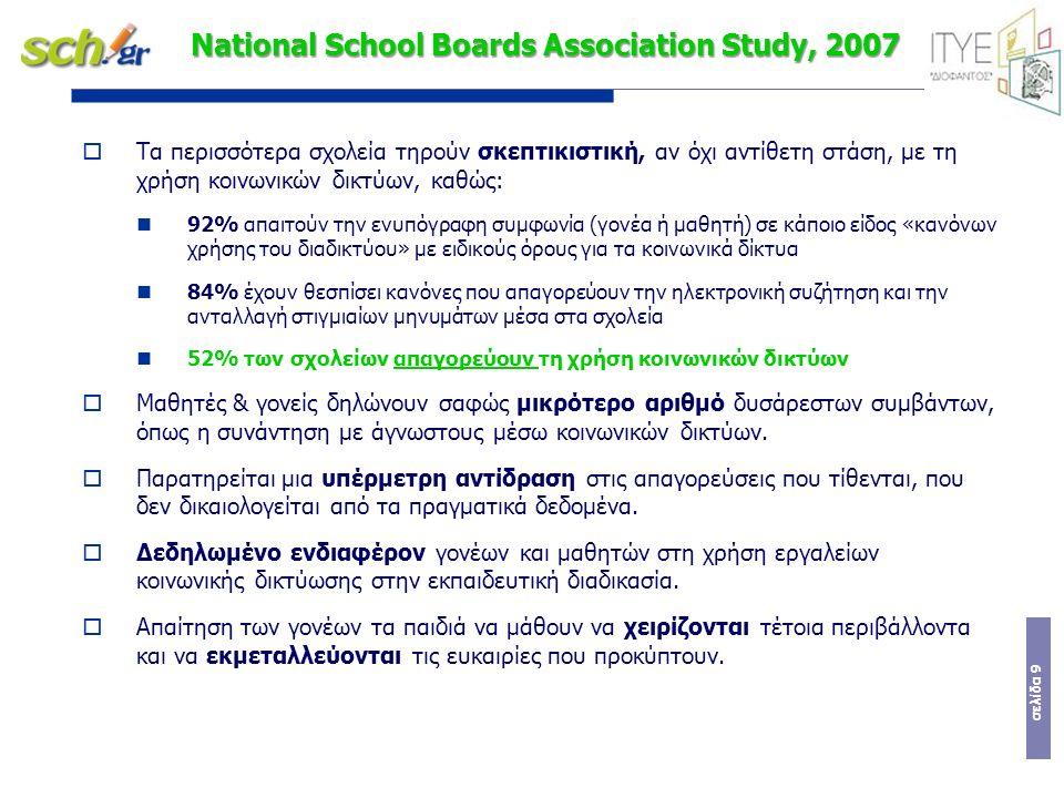 σελίδα 9 National School Boards Association Study, 2007  Τα περισσότερα σχολεία τηρούν σκεπτικιστική, αν όχι αντίθετη στάση, με τη χρήση κοινωνικών δικτύων, καθώς: 92% απαιτούν την ενυπόγραφη συμφωνία (γονέα ή μαθητή) σε κάποιο είδος «κανόνων χρήσης του διαδικτύου» με ειδικούς όρους για τα κοινωνικά δίκτυα 84% έχουν θεσπίσει κανόνες που απαγορεύουν την ηλεκτρονική συζήτηση και την ανταλλαγή στιγμιαίων μηνυμάτων μέσα στα σχολεία 52% των σχολείων απαγορεύουν τη χρήση κοινωνικών δικτύων  Μαθητές & γονείς δηλώνουν σαφώς μικρότερο αριθμό δυσάρεστων συμβάντων, όπως η συνάντηση με άγνωστους μέσω κοινωνικών δικτύων.