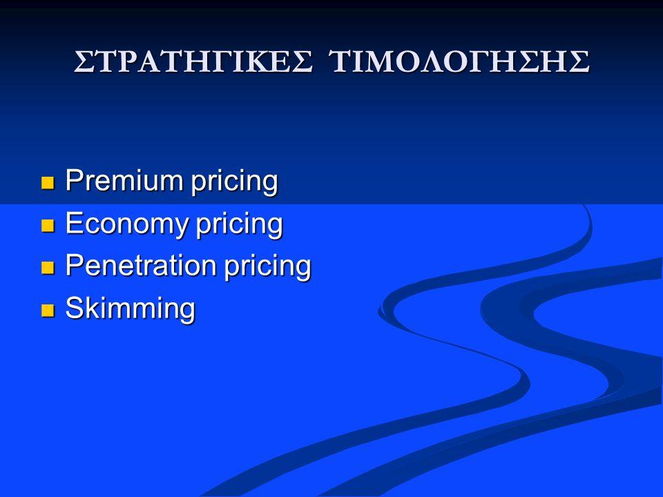 ΣΤΡΑΤΗΓΙΚΕΣ ΤΙΜΟΛΟΓΗΣΗΣ Premium pricing Premium pricing Economy pricing Economy pricing Penetration pricing Penetration pricing Skimming Skimming