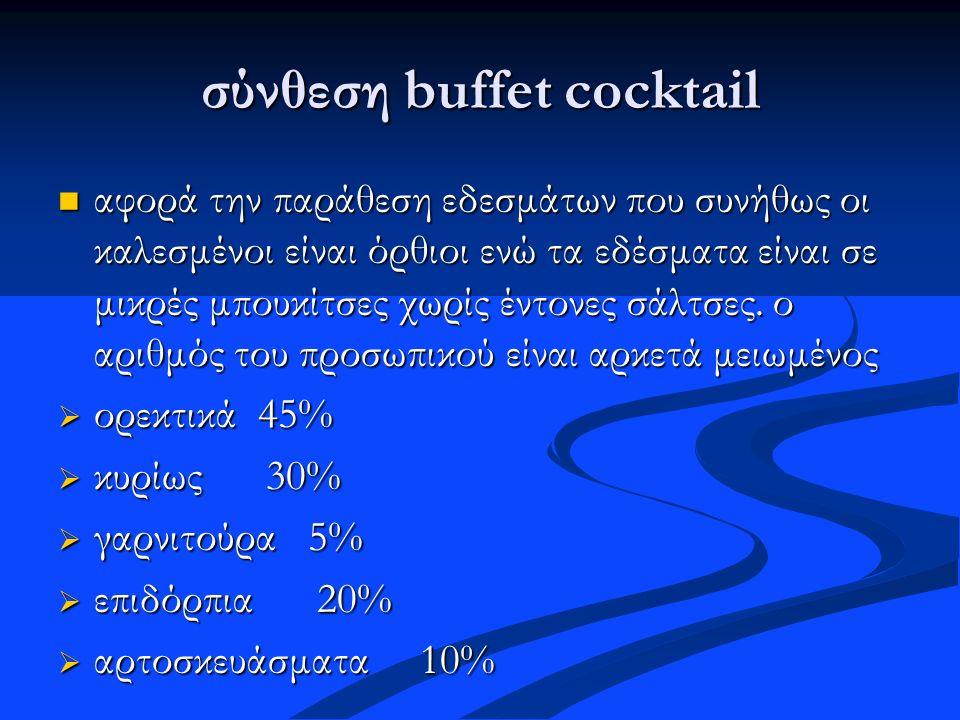 σύνθεση buffet cocktail αφορά την παράθεση εδεσμάτων που συνήθως οι καλεσμένοι είναι όρθιοι ενώ τα εδέσματα είναι σε μικρές μπουκίτσες χωρίς έντονες σ