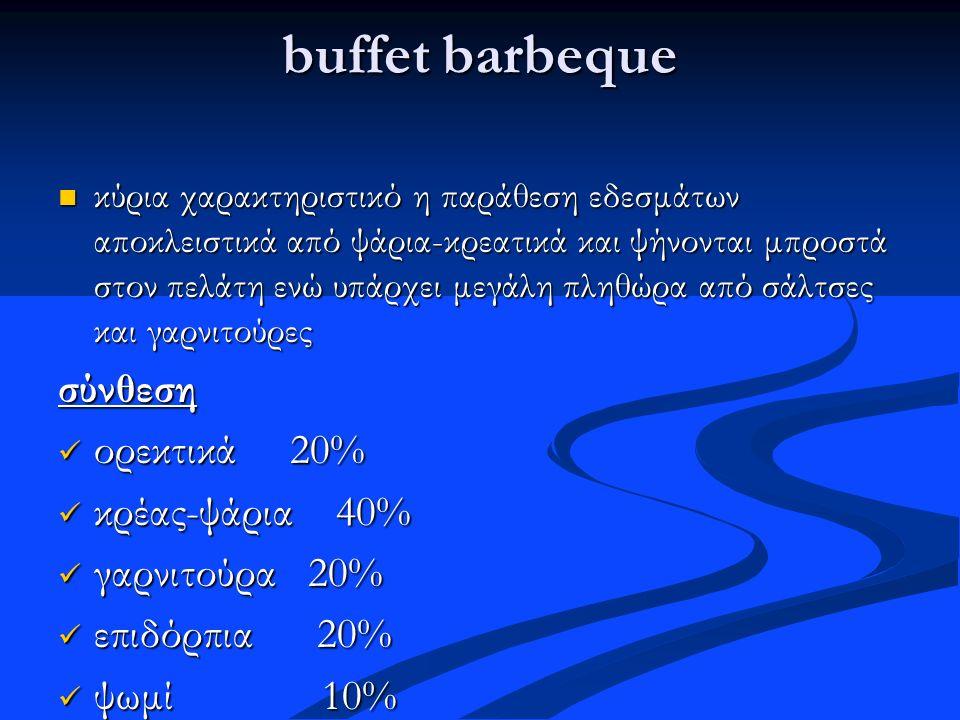 buffet barbeque κύρια χαρακτηριστικό η παράθεση εδεσμάτων αποκλειστικά από ψάρια-κρεατικά και ψήνονται μπροστά στον πελάτη ενώ υπάρχει μεγάλη πληθώρα