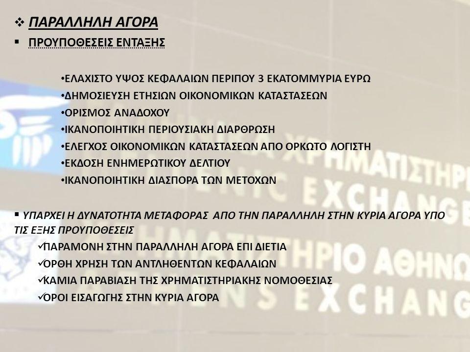  ΠΑΡΑΛΛΗΛΗ ΑΓΟΡΑ  ΠΡΟΥΠΟΘΕΣΕΙΣ ΕΝΤΑΞΗΣ ΕΛΑΧΙΣΤΟ ΥΨΟΣ ΚΕΦΑΛΑΙΩΝ ΠΕΡΙΠΟΥ 3 ΕΚΑΤΟΜΜΥΡΙΑ ΕΥΡΩ ΔΗΜΟΣΙΕΥΣΗ ΕΤΗΣΙΩΝ ΟΙΚΟΝΟΜΙΚΩΝ ΚΑΤΑΣΤΑΣΕΩΝ ΟΡΙΣΜΟΣ ΑΝΑΔΟΧΟΥ ΙΚΑΝΟΠΟΙΗΤΙΚΗ ΠΕΡΙΟΥΣΙΑΚΗ ΔΙΑΡΘΡΩΣΗ ΕΛΕΓΧΟΣ ΟΙΚΟΝΟΜΙΚΩΝ ΚΑΤΑΣΤΑΣΕΩΝ ΑΠΟ ΟΡΚΩΤΟ ΛΟΓΙΣΤΗ ΕΚΔΟΣΗ ΕΝΗΜΕΡΩΤΙΚΟΥ ΔΕΛΤΙΟΥ ΙΚΑΝΟΠΟΙΗΤΙΚΗ ΔΙΑΣΠΟΡΑ ΤΩΝ ΜΕΤΟΧΩΝ  ΥΠΑΡΧΕΙ Η ΔΥΝΑΤΟΤΗΤΑ ΜΕΤΑΦΟΡΑΣ ΑΠΟ ΤΗΝ ΠΑΡΑΛΛΗΛΗ ΣΤΗΝ ΚΥΡΙΑ ΑΓΟΡΑ ΥΠΟ ΤΙΣ ΕΞΗΣ ΠΡΟΥΠΟΘΕΣΕΙΣ ΠΑΡΑΜΟΝΗ ΣΤΗΝ ΠΑΡΑΛΛΗΛΗ ΑΓΟΡΑ ΕΠΙ ΔΙΕΤΙΑ ΟΡΘΗ ΧΡΗΣΗ ΤΩΝ ΑΝΤΛΗΘΕΝΤΩΝ ΚΕΦΑΛΑΙΩΝ ΚΑΜΙΑ ΠΑΡΑΒΙΑΣΗ ΤΗΣ ΧΡΗΜΑΤΙΣΤΗΡΙΑΚΗΣ ΝΟΜΟΘΕΣΙΑΣ ΟΡΟΙ ΕΙΣΑΓΩΓΗΣ ΣΤΗΝ ΚΥΡΙΑ ΑΓΟΡΑ