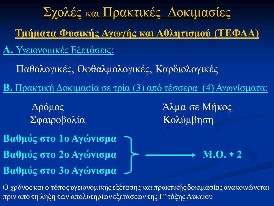 Σχολές και Πρακτικές Δοκιμασίες Τμήματα Φυσικής Αγωγής και Αθλητισμού (ΤΕΦΑΑ) Α.