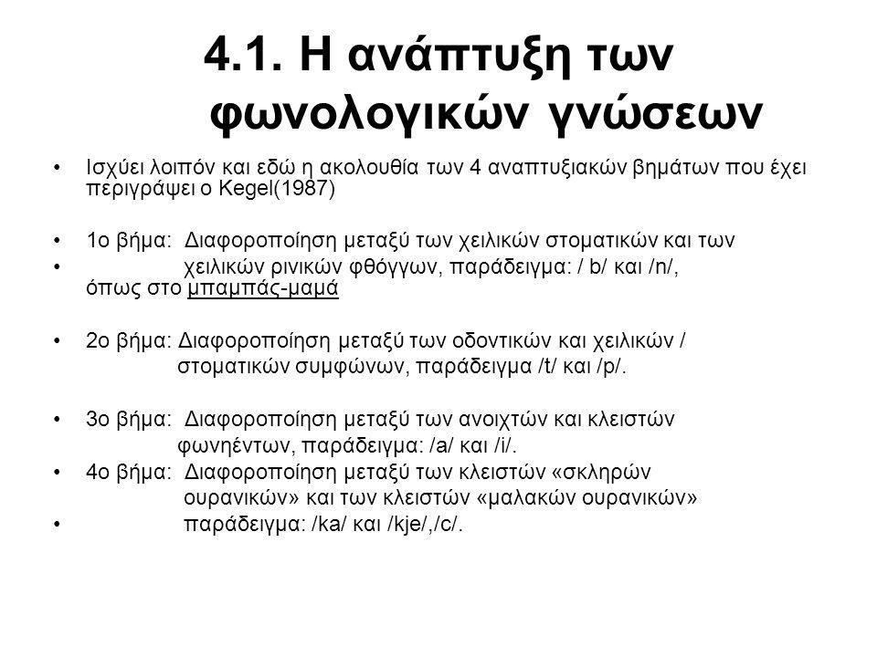 4.1. Η ανάπτυξη των φωνολογικών γνώσεων Ισχύει λοιπόν και εδώ η ακολουθία των 4 αναπτυξιακών βημάτων που έχει περιγράψει ο Kegel(1987) 1ο βήμα: Διαφορ