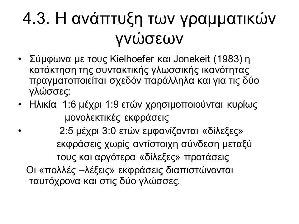 4.3. Η ανάπτυξη των γραμματικών γνώσεων Σύμφωνα με τους Kielhoefer και Jonekeit (1983) η κατάκτηση της συντακτικής γλωσσικής ικανότητας πραγματοποιείτ