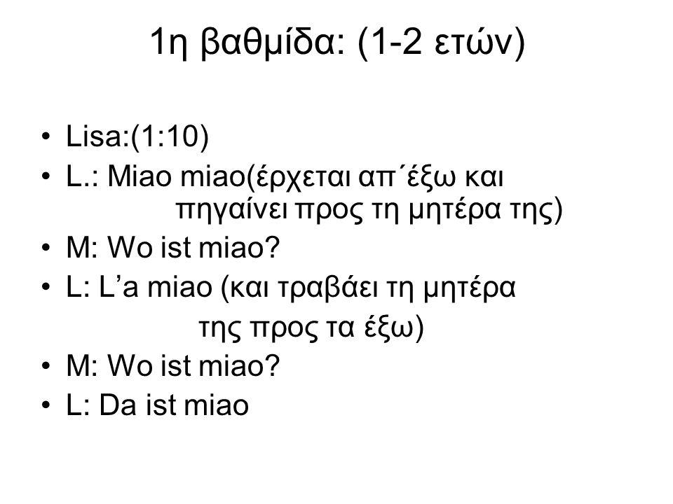 1η βαθμίδα: (1-2 ετών) Lisa:(1:10) L.: Miao miao(έρχεται απ΄έξω και πηγαίνει προς τη μητέρα της) M: Wo ist miao? L: L'a miao (και τραβάει τη μητέρα τη
