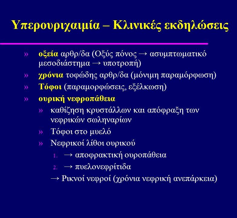 »οξεία αρθρ/δα (Οξύς πόνος → ασυμπτωματικό μεσοδιάστημα → υποτροπή) »χρόνια τοφώδης αρθρ/δα (μόνιμη παραμόρφωση) »Τόφοι (παραμορφώσεις, εξέλκωση) »ουρ