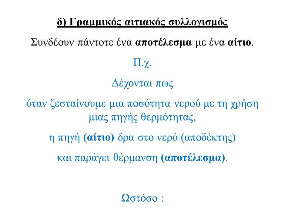 δ) Γραμμικός αιτιακός συλλογισμός Συνδέουν πάντοτε ένα αποτέλεσμα με ένα αίτιο. Π.χ. Δέχονται πως όταν ζεσταίνουμε μια ποσότητα νερού με τη χρήση μιας