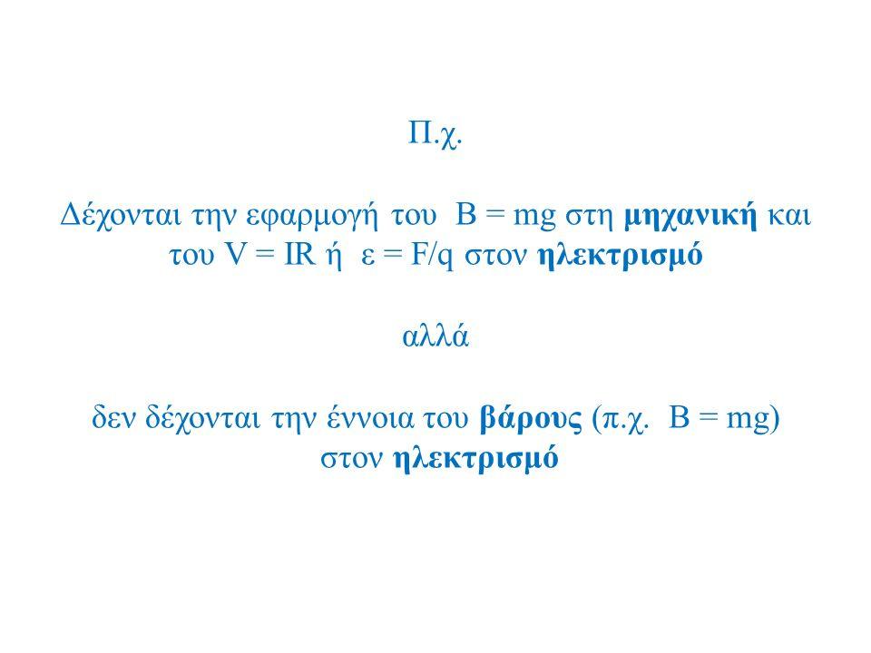 Π.χ. Δέχονται την εφαρμογή του B = mg στη μηχανική και του V = IR ή ε = F/q στον ηλεκτρισμό αλλά δεν δέχονται την έννοια του βάρους (π.χ. B = mg) στον