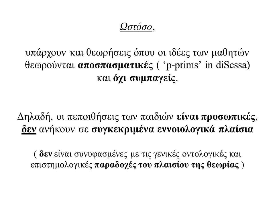 Ωστόσο, υπάρχουν και θεωρήσεις όπου οι ιδέες των μαθητών θεωρούνται αποσπασματικές ( 'p-prims' in diSessa) και όχι συμπαγείς. Δηλαδή, οι πεποιθήσεις τ