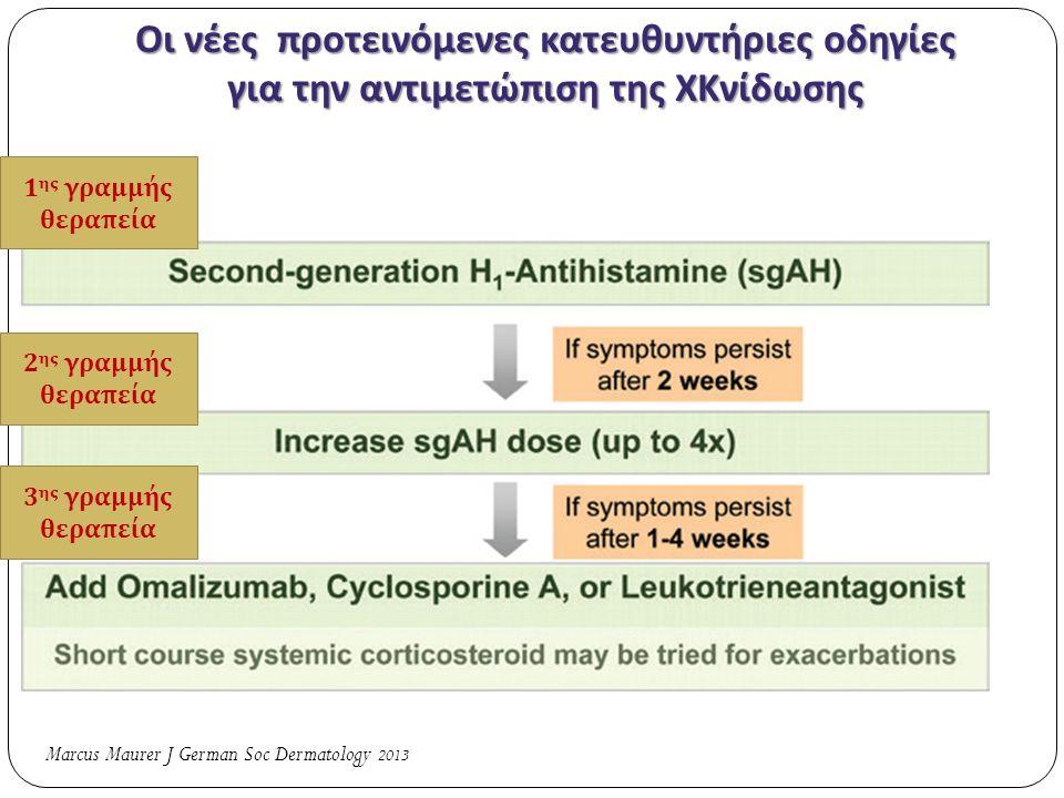 Οι νέες προτεινόμενες κατευθυντήριες οδηγίες για την αντιμετώπιση της ΧΚνίδωσης Marcus Maurer J German Soc Dermatology 2013 1 ης γραμμής θερα π εία 2 ης γραμμής θερα π εία 3 ης γραμμής θερα π εία