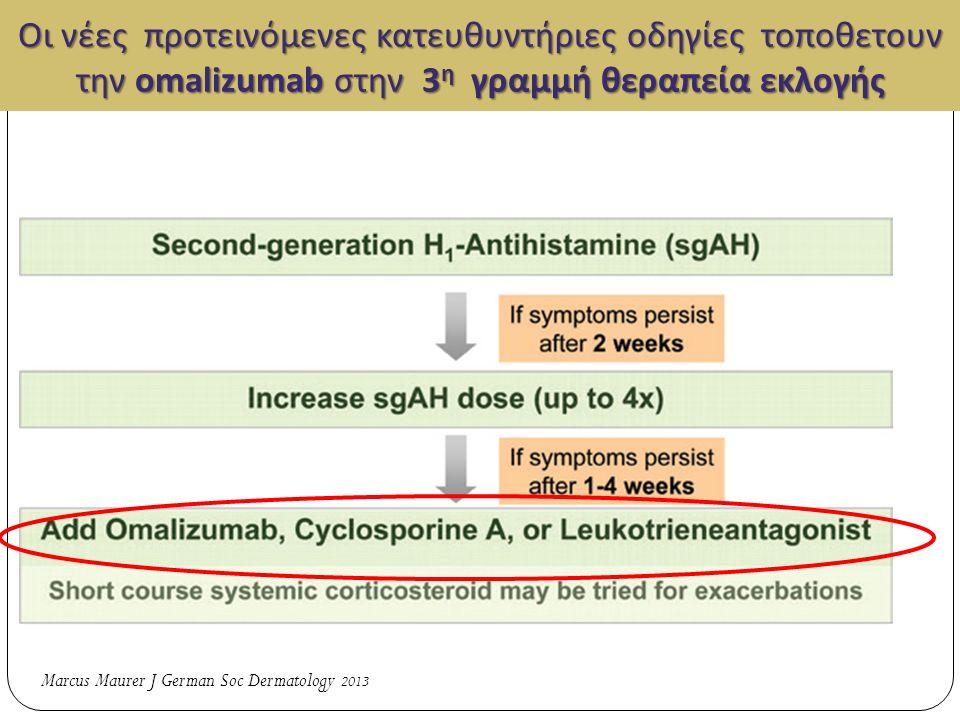 Οι νέες προτεινόμενες κατευθυντήριες οδηγίες τοποθετουν την omalizumab στην 3 η γραμμή θεραπεία εκλογής 1 Οι νέες προτεινόμενες κατευθυντήριες οδηγίες τοποθετουν την omalizumab στην 3 η γραμμή θεραπεία εκλογής Marcus Maurer J German Soc Dermatology 2013